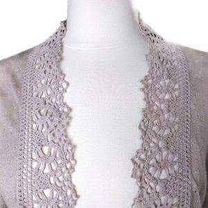 Banana Republic Linen Blend Lilac Crochet Cardigan